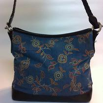 Brighton Blue Floral Canvas and Leather Trim Braided Strap Shoulder Bag Purse Photo