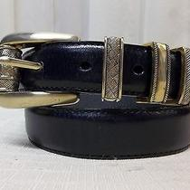 Brighton Blue Leather Belt With Roller Gold Buckle Women's Size Medium to 31