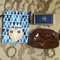 Brighton Blue Leather/ Silver Credit Card Case & Regally Yours Earrings New Photo
