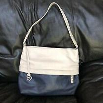 Brighton Blue White Leather Purse Braided Strap Authentic Photo