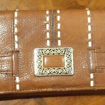 Brighton Bolero Large Carmel Brown Wallet W/ White Stitching & Silver Accent Photo
