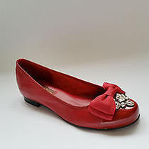 Brighton Bow Cherry Napa and Patent Womens Leather Flats Size 8.5 M  Photo
