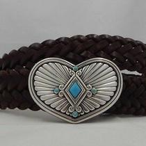 Brighton Braided Indie Heart Leather Belt Size 36  B21305 Nwt  Photo