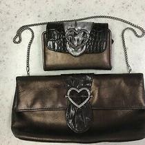 Brighton Bronze Metallic Fold Over Purse Clutch Chain Strap & Matching Wallet Photo