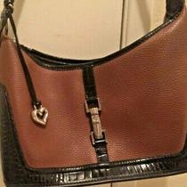 Brighton Brown 2- Tone Leather Shoulder Bag Purse Rope Handle Buckle Details Photo