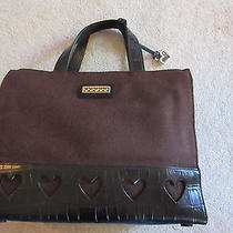 Brighton Brown and Black Leather Trimmed Purse With Hearts & Heart Fob Excellent Photo
