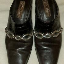 Brighton Brown and Faux Croc Mules Size 6.5 Preowned.  Photo