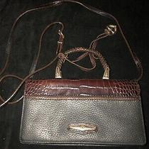 Brighton Brown Black Croc Pebbled Leather Crossbody Clutch Bag Photo