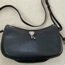 Brighton Brown & Black Leather Heart Shoulder Bag Handbag Cross Body Purse Photo