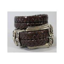 Brighton Brown Braided Leather Belt Sz M Photo