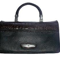 Brighton Brown Croc and Black Pebbled Leather Top Handle Clutch Wallet Wristlet Photo