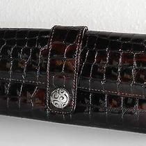 Brighton Brown Croc / Croco Patent Leather Wallet Photo