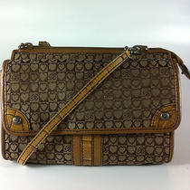 Brighton Brown Croc Leather and Canvas Hearts Print Cross Body Purse Photo