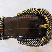 Brighton Brown Croc Leather Belt Gold Buckle-Style 50108 - Size Small- Excellent Photo