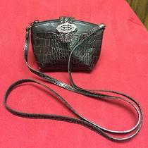 Brighton Brown Croc Leather Mini Messenger Crossbody Bag Shoulder Purse Photo