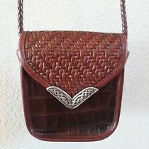 Brighton Brown Croc Leather Shoulder Handbag Crossbody Purse Photo