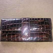 Brighton Brown Croc Patent Leather Organizer Wallet Clutch Photo