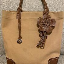 Brighton Brown Denim Leather Trim & Tassel Tote Shoulderbag Preowned Distressed Photo