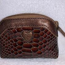 Brighton Brown Embossed Coin Purse Signature Fabric Lined Zipper Embossed Heart Photo