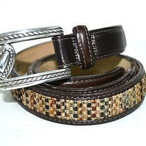 Brighton Brown Genuine Leather Silver Buckle Belt Size S 38