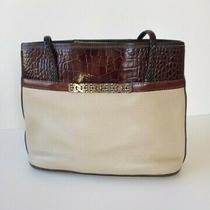 Brighton Brown Ivory Leather Croco Embossed Shoulder Bucket Tote Bag Purse Photo