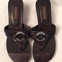 Brighton Brown Leather and Wood Sandals / Size 10 Photo