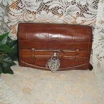 Brighton Brown Leather/croc Organizer/clutch/etched Silver Heart Lock & Key  Euc Photo