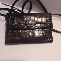 Brighton Brown Leather/croc Wallet/ Crossbody  Photo
