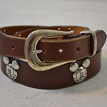 Brighton Brown Leather Disney Belt W/ Silver Tone Mickey Mouse Medals Sz 30 Photo