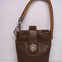 Brighton Brown Leather & Flower Cell Case W/ Wristlet Jodi Collection Photo