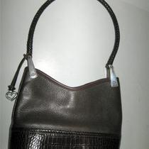 Brighton Brown Leather Handbag Pebbled & Croc Braided Strap Excellent Photo