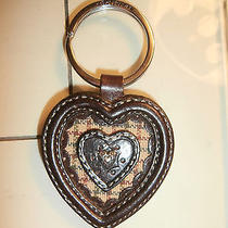 Brighton Brown Leather Key Ring Heart Within a Heart  New Photo