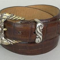 Brighton Brown Leather Medium Belt With Cherub Buckle Excellent Condition  Photo