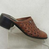 Brighton Brown Leather Metal Hearts Perforated Slip on Ankle Sandals Size 8.5 M Photo