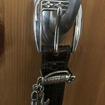Brighton Brown  Leather Reptile Print Women's Belt With Golf Charms Size 34  48 Photo