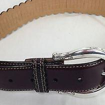 Brighton Brown Leather Scalloped Edges Belt New 42 Sz M 30
