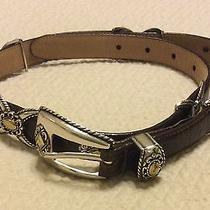 Brighton Brown Leather Silver/gold Metal Belt Womens Size M 30 Photo