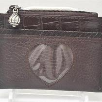 Brighton Brown Leather Silver Trim Coin Purse Bag Credit Case & Heart Id Slot  Photo