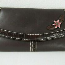 Brighton - Brown Leather Trifold Clutch Wallet W/ Enameled Flower Photo