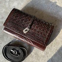 Brighton Brown Leather Weave - Wallet Organizer W/ Strap Xl -New  Very Cute Photo