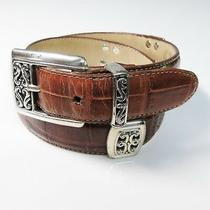 Brighton Brown Leather Western Show Belt & Buckle Ladies 28