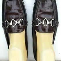 Brighton Brown Loafer Mules/slides Made in Italy Pewter Links Size 9  Very Good Photo