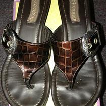 Brighton Brown Patent Leather Crocodile T-Strap Wedge Sandals Size 8m Photo