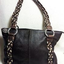 Brighton Brown Pebbled Leather Shoulder Bag Purse Braided Straps Lg Tote Photo