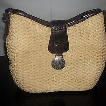 Brighton Brown Silver Medallion Leather Woven Straw Shoulder Bag Purse Handbag   Photo