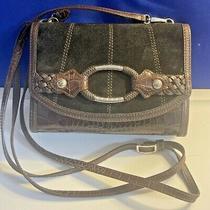Brighton Brown Suede and Crocodile Leather Crossbody Wallet Handbag Photo