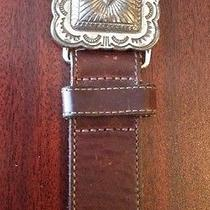 Brighton Brownleather Art Nouveau Ornate Concho Western Belt Photo