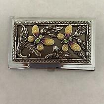 Brighton Business Card Case Holder Mirror Butterfly & Flower Detail Wow Signed Photo