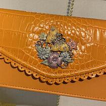 Brighton Butterfly & Flowers Enameled Wallet Organizer Purse Clutch Orange  Photo