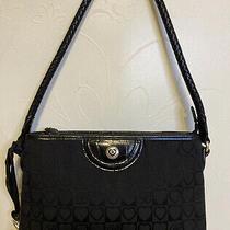 Brighton C621567 Heart Janice Leather Black Shoulder Clutch Bag Logo Photo